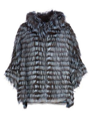 THE FUR SALON Fox Fur Hooded Batwing Jacket in Light Blue