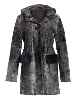 THE FUR SALON Swakara Karakul Lamb & Mink Fur Jacket in Grey