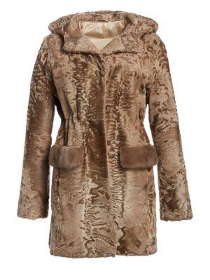 THE FUR SALON Karakul Lamb & Mink Fur Jacket in Ghost