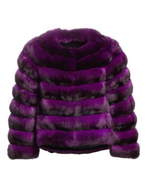 THE FUR SALON Collarless Chinchilla Fur Jacket in Purple