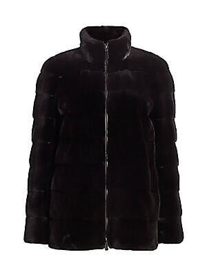 """Image of Quilted aesthetic accentuates plush texture of mink jacket. Stand collar Long sleeves Zip front Side seam waist pockets Fully lined Mink fur Fur type: Dyed mink fur Fur origin: Denmark Dry clean by fur specialist Imported SIZE & FIT About 27"""" from shoulde"""