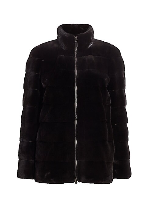 "Image of Quilted aesthetic accentuates plush texture of mink jacket. Stand collar. Long sleeves. Zip front. Side seam waist pockets. Fully lined. Mink fur. Fur type: Dyed mink fur. Fur origin: Denmark. Dry clean by fur specialist. Imported. SIZE & FIT. About 27"" f"