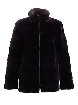 """Image of Quilted mink fur jacket is a versatile and edgy essential. Stand collar Long sleeves Zip front Fully lined Mink fur Fur type: Dyed mink fur Fur origin: Denmark Dry clean by fur specialist Imported SIZE & FIT About 27"""" from shoulder to hem Model shown is 5"""