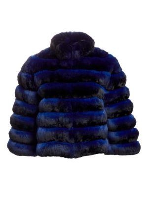THE FUR SALON Rome Cropped Chinchilla Fur Jacket in Blue
