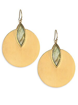 Image of Balanced golden disc earrings with lotus-inspired cut gem. Labradorite 22K yellow gold-plated brass Ear wire Made in Canada SIZE Diameter, 1.5 Length, 1.75. Fashion Jewelry - Trend Jewelry. Dean Davidson. Color: Gold.