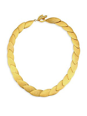 Image of Complex yet simple layered leaves in an elegant collar shape. 22K yellow gold-plated brass Toggle closure Made in Canada SIZE Length, about 17 Width, about 0.5. Fashion Jewelry - Trend Jewelry. Dean Davidson. Color: Gold.