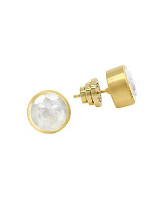 Moonstone & 22 K Goldplated Knockout Stud Earrings by Dean Davidson
