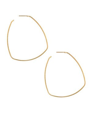 Image of Architecturally-inspired hoop earrings with a square shape. 22K yellow goldplated Post back Made in Canada SIZE Diameter, about 2.5 Length, about 2.5. Fashion Jewelry - Trend Jewelry. Dean Davidson. Color: Gold.