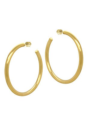 Image of Brushed metal hoops with a soft, minimalist feel. 22K yellow goldplated Post back Made in Canada SIZE Diameter, about 2.5. Fashion Jewelry - Trend Jewelry. Dean Davidson. Color: Gold.