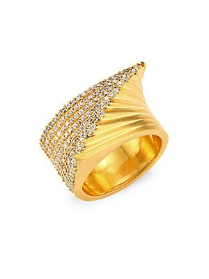 Image of Brilliantly fanned golden ring with shimmering rows of pavé gemstones. White topaz 22K yellow goldplated Made in Canada SIZE Width, about 0.9. Fashion Jewelry - Trend Jewelry > Saks Fifth Avenue. Dean Davidson. Color: Gold. Size: 7.