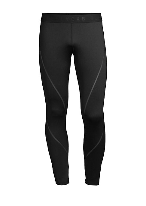 "Image of Slick logo waistband compression leggings. Banded waist. Pullon style. Polyester/elastane. Machine wash. Imported. SIZE & FIT. Rise, about 10"".Inseam, about 29"".Leg opening, about 6""."