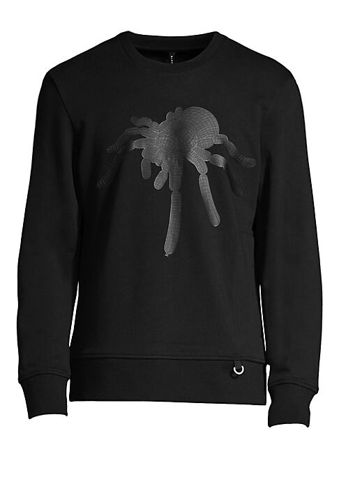 "Image of This rich cotton sweater features a balloon graphic spider. Crewneck. Long sleeves. Pullover. Graphic print. Pull ring detail at hem. Ribbed trim. Cotton. Machine wash. Imported. SIZE & FIT. About 28"" from shoulder to hem."