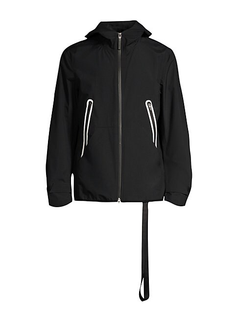 "Image of Slick weatherproof jacket featuring contrast sealed zip pockets. Mockneck. Long sleeves. Front zip closure. Sealed zip pockets. Nylon. Machine wash. Imported. SIZE & FIT. About 28"" from shoulder to hem."