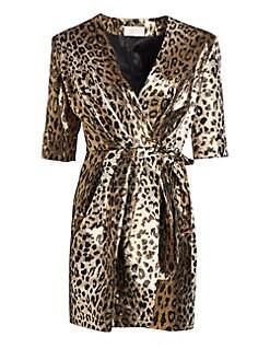 21f3e16aeb8 Sara Battaglia - Metallic Leopard Mini Wrap Dress