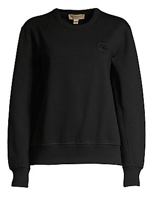 Image of The conventionally elegant Burberry brand reinvents with this on-trend sweatshirt. Embroidered with a silicone heritage logo, this piece embodies fine craftsmanship in the form of athleisure cool. Roundneck Long sleeves Rib-knit cuffs and hem Pullover sty