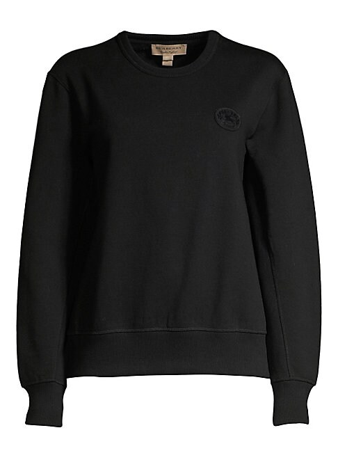Image of The conventionally elegant Burberry brand reinvents with this on-trend sweatshirt. Embroidered with a silicone heritage logo, this piece embodies fine craftsmanship in the form of athleisure cool. Roundneck. Long sleeves. Rib-knit cuffs and hem. Pullover