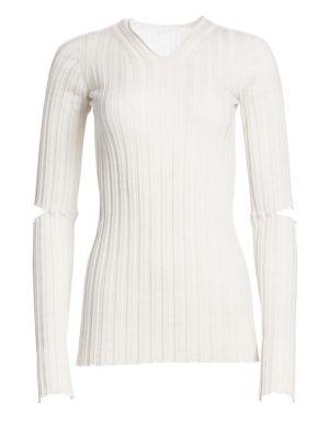79a1f13b0169 Helmut Lang Cutout Rib-Knit Wool V-Neck Top - Ivorybone In White ...