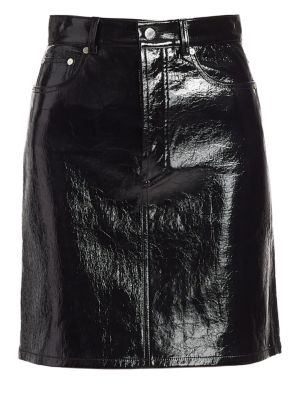 Patent Leather High-Waist Mini Skirt in Black