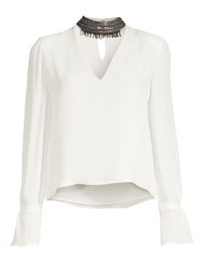 Annete Embellished Silk Blouse by Ramy Brook