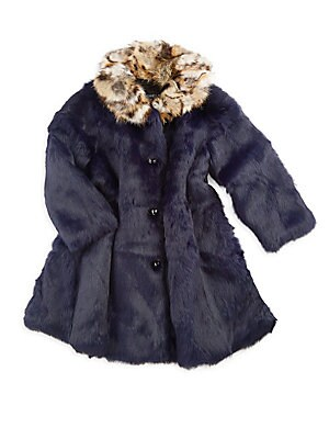 Image of Adorable swing coat with contrast collar crafted out of cozy rabbit fur. Stand collar Long sleeves Button front Fur type: Dyed rabbit Fur origin: China Dry clean by fur specialist Imported. Children's Wear - Classic Children. Adrienne Landau. Color: Navy.
