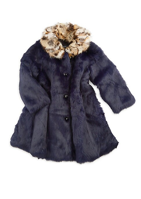 Image of Adorable swing coat with contrast collar crafted out of cozy rabbit fur. Stand collar. Long sleeves. Button front. Fur type: Dyed rabbit. Fur origin: China. Dry clean by fur specialist. Imported.