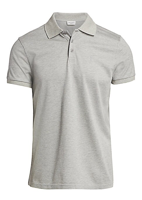 """Image of Minimalist polo is a versatile wardrobe essential. Polo collar. Short sleeves. Two-button placket. Cotton. Machine wash. Made in Italy. SIZE & FIT. About 30"""" from shoulder to hem."""