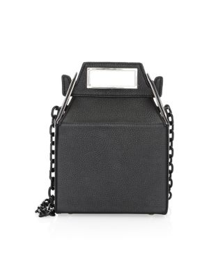 POP & SUKI Leather Takeout Bag in Black