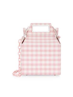 POP & SUKI Gingham Virgin Wool Takeout Bag in Pink