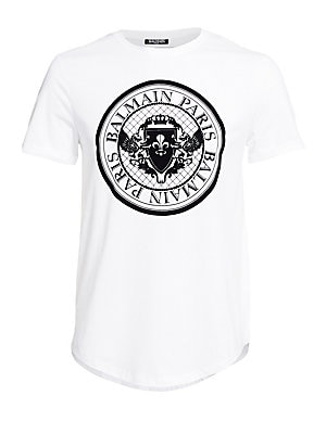 """Image of A blown-up coin logo graphic fronts this classic cotton tee. Crewneck Short sleeves Pullover style Curved hem Cotton Dry clean Made in Italy SIZE & FIT About 28"""" from shoulder to hem. Men Advcd Dsgnr - Advanced Designer Collec > Saks Fifth Avenue. Balmain"""