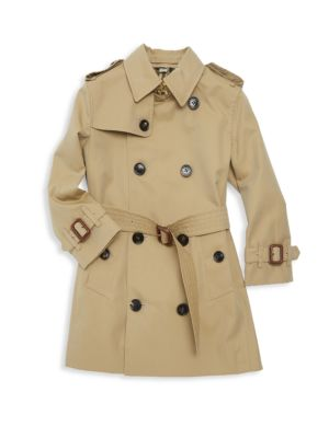 Little Girl's & Girl's Mayfair Cotton Trench by Burberry