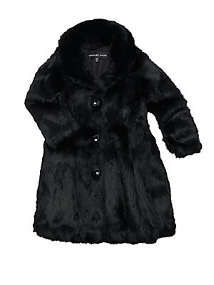 Image of A-line rabbit fur coat will keep her warm and looking like a princess. Shawl lapels Long sleeves Button front Polyester Fur type: Dyed rabbit Fur origin: China Dry clean by fur specialist Imported. Children's Wear - Classic Children. Adrienne Landau. Colo