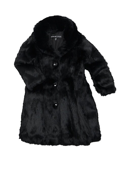 Image of A-line rabbit fur coat will keep her warm and looking like a princess. Shawl lapels. Long sleeves. Button front. Polyester. Fur type: Dyed rabbit. Fur origin: China. Dry clean by fur specialist. Imported.