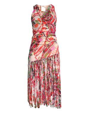 FUZZI SWIM Printed Fringe Dress in Coral