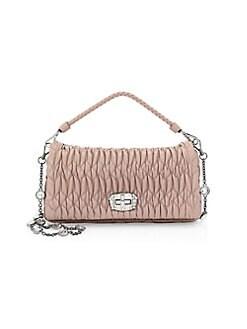 f15debb60ba0 QUICK VIEW. Miu Miu. Crystal-Embellished Leather Double Strap Shoulder Bag