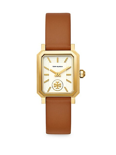 Robinson Goldtone Stainless Steel & Brown Leather Strap Watch