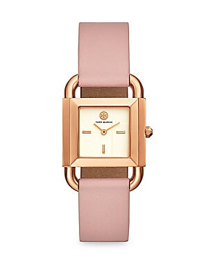 159388860946 Tory Burch - Phipps Rose-Goldtone   2-Piece Leather Strap Watch