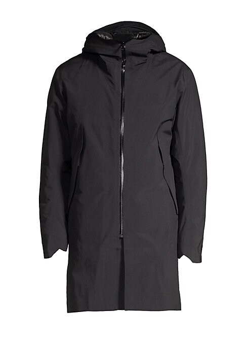 """Image of A cozy down quilted lining adds warmth to this longline jacket. Attached hood. Long sleeves with notched cuffs. Zip front. Waist zip pockets. Back V-split. Nylon. Fill: Down/feathers. Machine wash. Made in Canada. SIZE & FIT. About 36"""" from shoulder to he"""