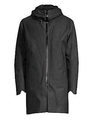 """Image of A cozy down quilted lining adds warmth to this longline jacket. Attached hood Long sleeves with notched cuffs Zip front Waist zip pockets Back V-split Nylon/polyester Fill: Down/feather Machine wash Made in Canada SIZE & FIT About 36"""" from shoulder to hem"""