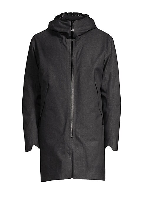 """Image of A cozy down quilted lining adds warmth to this longline jacket. Attached hood. Long sleeves with notched cuffs. Zip front. Waist zip pockets. Back V-split. Nylon/polyester. Fill: Down/feather. Machine wash. Made in Canada. SIZE & FIT. About 36"""" from shoul"""