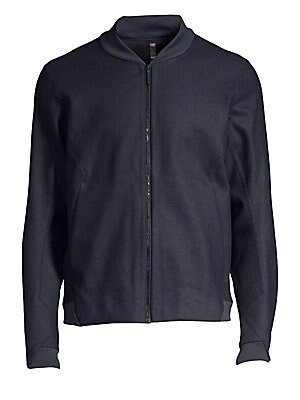 """Image of Classic sporty styling and a panelled construction defines this luxe wool-blend bomber jacket. Baseball collar Long sleeves Zip front Banded trim Waist slash pockets Wool/polyester/nylon/cotton Machine wash Made in Canada SIZE & FIT About 23"""" from shoulde"""