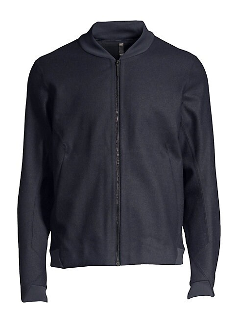 """Image of Classic sporty styling and a panelled construction defines this luxe wool-blend bomber jacket. Baseball collar. Long sleeves. Zip front. Banded trim. Waist slash pockets. Wool/polyester/nylon/cotton. Machine wash. Made in Canada. SIZE & FIT. About 23"""" fro"""