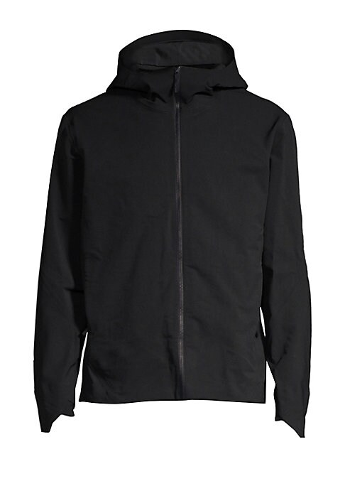 """Image of Lightweight technical jacket with sleek styling. Attached hood. Long sleeves. Front zip closure. Waist zip pockets. Inside zip pockets. Polyamide. Machine wash. Imported. SIZE & FIT. About 29"""" from shoulder to hem."""
