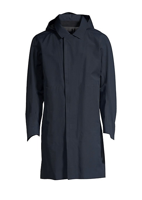 """Image of Sleek coat is crafted in a minimalist aesthetic. Attached hood. Long sleeves. Zip front. Waist slip pockets. Back vent. Nylon. Machine wash. Made in Canada. SIZE & FIT. About 37"""" from shoulder to hem."""