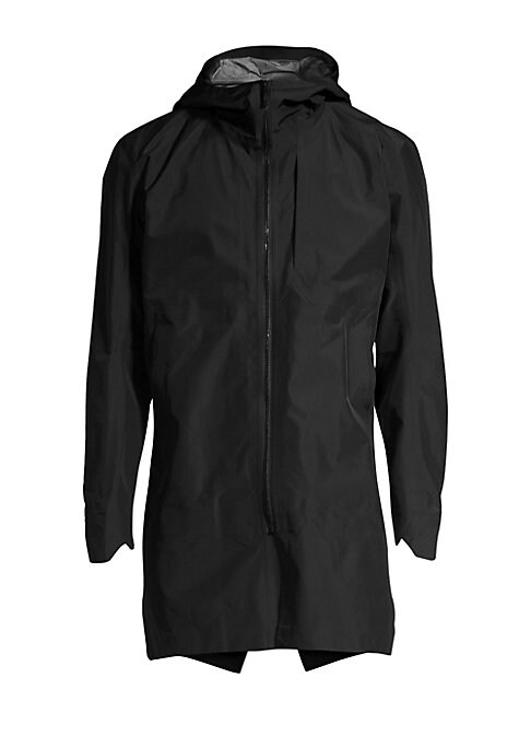 """Image of Minimalist rain coat is crafted with a durable and sleek exterior. Attached hood. Long sleeves. Zip front. Waist slip pockets. Back vent. Nylon. Machine wash. Made in Canada. SIZE & FIT. About 34"""" from shoulder to hem."""