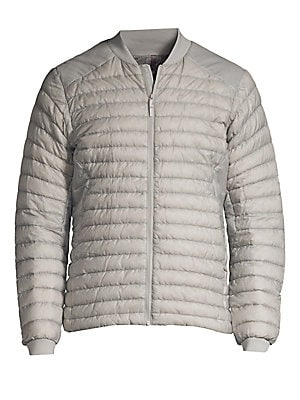 """Image of Lightweight down-filled puffer jacket - ideal for layering - constructed from water-and-wind-resistant fabric. Baseball collar Long sleeves Front zip closure Waist zip pockets Nylon Fill: Goose down/goose feather Machine wash Imported SIZE & FIT About 27"""""""