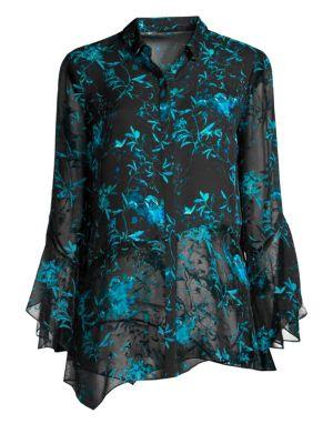 ELIE TAHARI Layla Asymmetric Floral Silk Blouse in Aegean Seablack