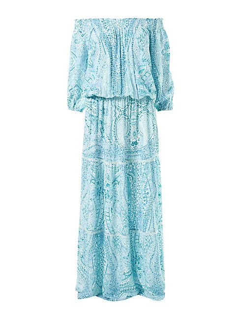 Image of Bohemian paisley printed dress with an elasticized waist flaunts tiered lace details. Off-the-shoulder. Three-quarter peasant sleeves. Pullover style. Elasticized waist. Tiered lace trim. Viscose. Hand wash. Imported. SIZE & FIT. Maxi silhouette. About 58