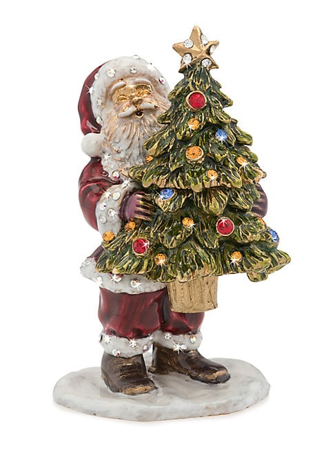 """Image of 14K goldplated old-fashioned Santa figurine, hand-enameled and hand-set with Swarovski crystals.14K goldplated. Swarovski crystals. Comes with gift box, romance card and pouch. Wipe clean. Imported. SIZE.1.75""""W x 2.75""""H x 1.5""""D."""