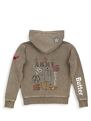 Image of Army-inspired embellishing adorns soft mineral wash hoodie. Attached hood Long sleeves Ribbed cuffs with thumb hole Zip front Split kangaroo pocket Banded hem Cotton/polyester Machine wash Imported. Children's Wear - Contemporary Children. Butter. Color: