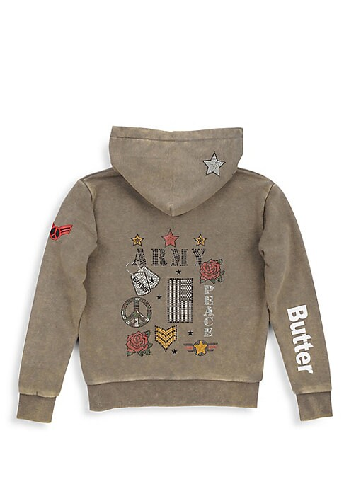 Image of Army-inspired embellishing adorns soft mineral wash hoodie. Attached hood. Long sleeves. Ribbed cuffs with thumb hole. Zip front. Split kangaroo pocket. Banded hem. Cotton/polyester. Machine wash. Imported.
